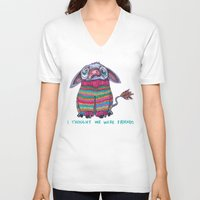 donkey V-neck T-shirts featuring Donkey by Ruth Wels