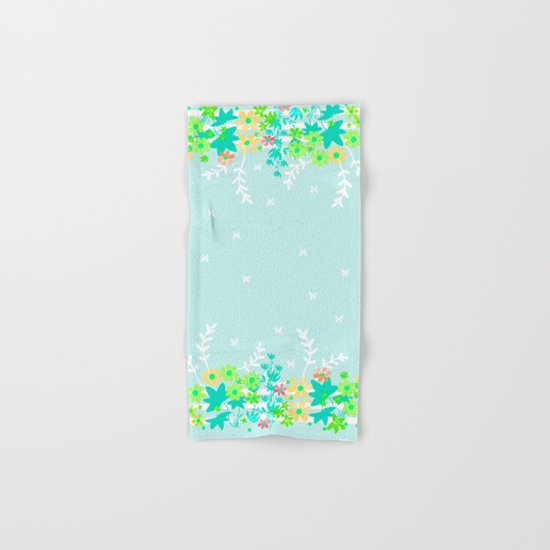 Turquoise floral pattern . Colorful floral background . Hand & Bath Towel