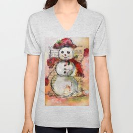 Snowman with Red Hat Unisex V-Neck