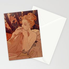 DUSK by Alphonse Mucha Stationery Cards