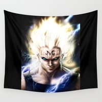 vegeta Wall Tapestries featuring Majin Vegeta real style portrait by Shibuz4