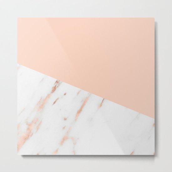 Pink Quartz and White Marble Rose Gold Metal Print