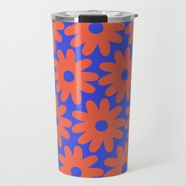 Crayon Flowers 3 Cheerful Smudgy Floral Pattern in Coral and Bright Blue Travel Mug