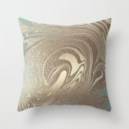 Mermaid Gold Wave 2 Throw Pillow