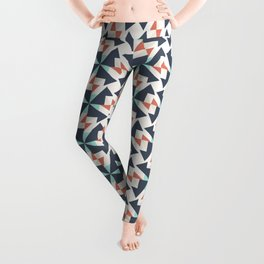 Abstract Contemporary Geometric Retro Pattern 08 Leggings