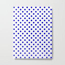 Small Polka Dots - Blue on White Metal Print