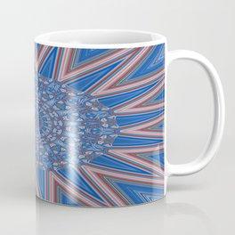 Blue Red and White Kaleidoscope Pattern Coffee Mug