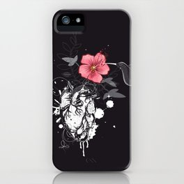 Hummingbird and heart with flower iPhone Case