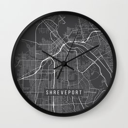 Shreveport Map, USA - Gray Wall Clock