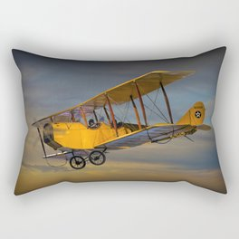 Yellow Biplane with Sunset Cloudy Sky Rectangular Pillow