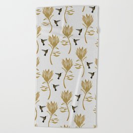 Hummingbird & Flower I Beach Towel