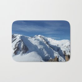 Awesome white snowy Mont Bla   nc Alps mountains in Italy, France, Europe on a beautiful winter day Bath Mat