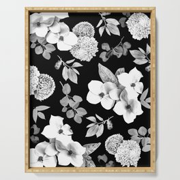 Night bloom - moonlit bw Serving Tray
