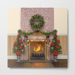 Christmas Hearth Metal Print