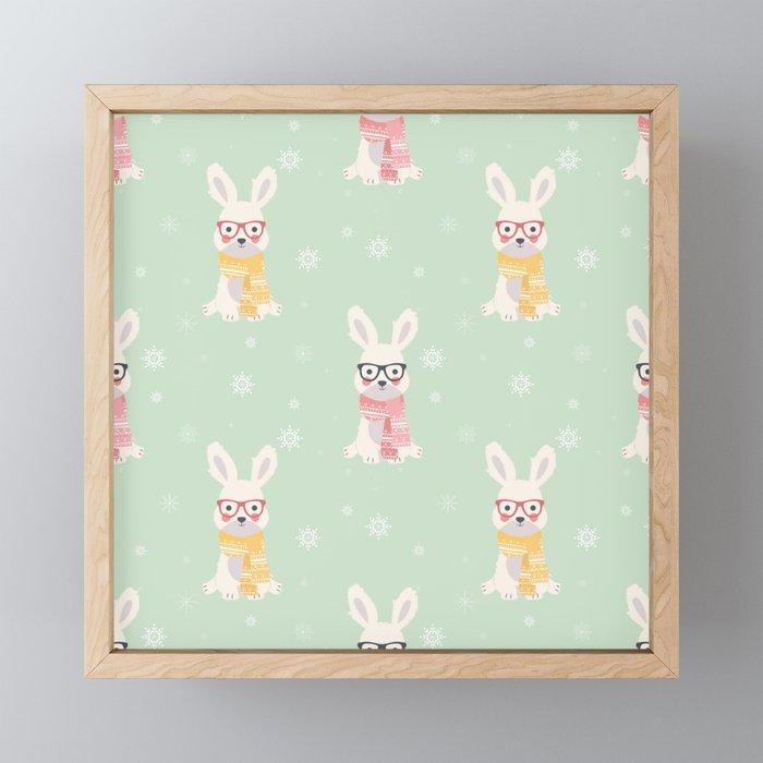 White rabbit Christmas pattern 001 Framed Mini Art Print
