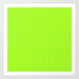Green Grid White Line Art Print