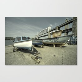 Boats by the the bridge  Canvas Print