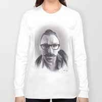 robert farkas Long Sleeve T-shirts featuring Realism Charcoal Drawing of Artist Damon Lucas Farkas by Brittni DeWeese