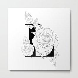 Monogram Letter L with Rose Line Art Metal Print