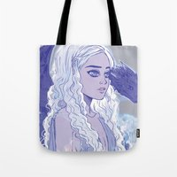 mother of dragons Tote Bags featuring Mother of Dragons by Natalie Nardozza