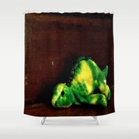 dino Shower Curtains featuring Dino by Lily Dee Designs