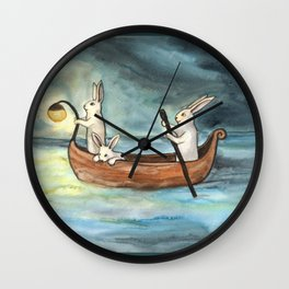 Night Boating Wall Clock