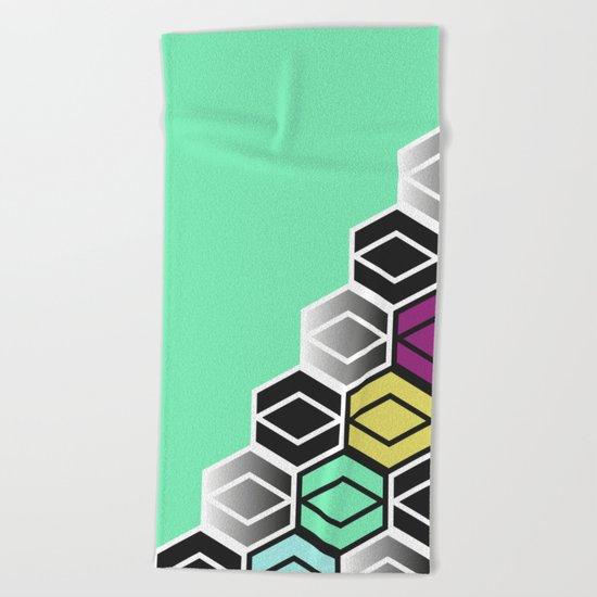HexagonWall Beach Towel
