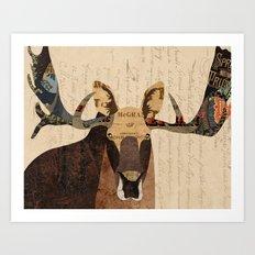 Moose Collage Art Print