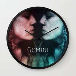 Gemini astrology, twins, two girls, mirror image, astrological sign, horoscope cosmic universe Wall Clock
