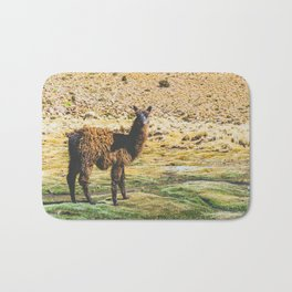 Wandering Llama in the Bolivian Desert Bath Mat