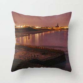 Old sea bathing pool and Tynemouth Church at night. Northumberland, UK. Throw Pillow