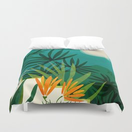 Tropical Moonlight / Night Scene Illustration Duvet Cover