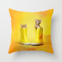 kittens Throw Pillows featuring KITTENS by I Love Decor