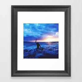 Sunset Swimmer Framed Art Print