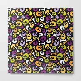 Cartoon Halloween Skulls Metal Print