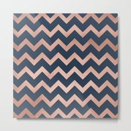 Blue & Pink Chevron Metal Print