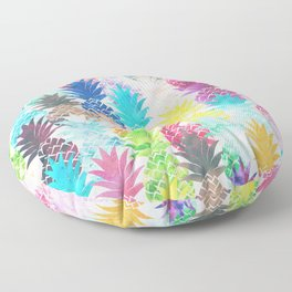 Hawaiian Pineapple Pattern Tropical Watercolor Floor Pillow
