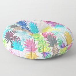 Hawaiian Pineapple Pattern Tropical Watercolor Floor Pillow