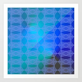 Pattern by spider web blue ... Art Print