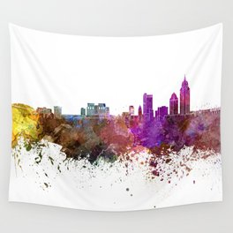 Mobile skyline in watercolor background Wall Tapestry