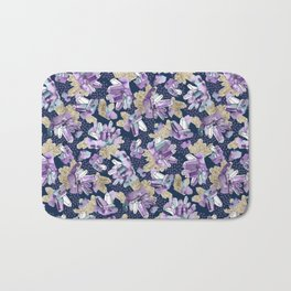 Amethyst Crystal Clusters / Violet, Blue and Gold Bath Mat