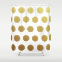gold dots Shower Curtains featuring painted polka dots - gold by her art