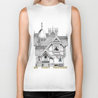 pac man Biker Tanks featuring Pac-Man House by Ryan Huddle House of H