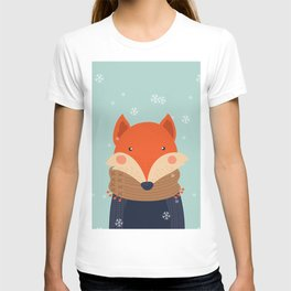Fox Under Snow in the Christmas Time. T-shirt