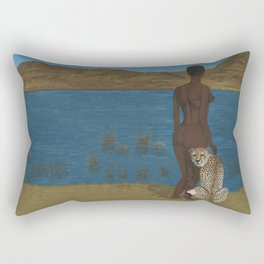 Woman & Cheetah Rectangular Pillow