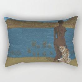 Woman & Cheetah Rectangular Pillow