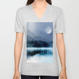 Mountainscape Under The Moonlight Unisex V-Neck