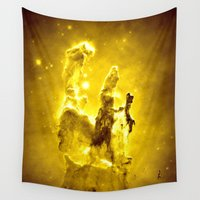 nebula Wall Tapestries featuring Yellow neBUla  by 2sweet4words Designs