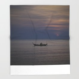 Rowing into the sunset II Throw Blanket