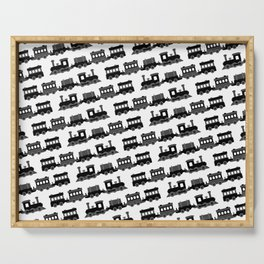 Black and White Wooden Toy Trains Pattern Serving Tray